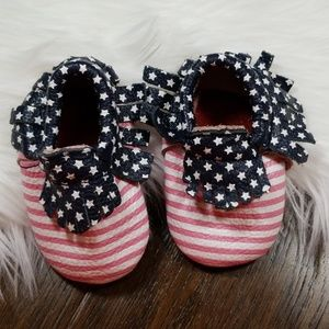 Other - LIKE NEW Stars and Stripes Leather Baby Moccasins